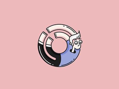 Loop donut guy loop animation vector illustration line icon flat design