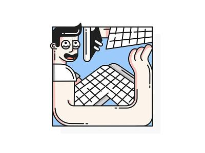 Comfort Zone box personal boy zone comfort vector illustration line flat design