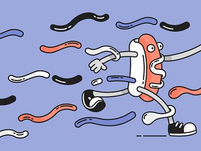 Hot Run! running run hotdog vector illustration line flat design