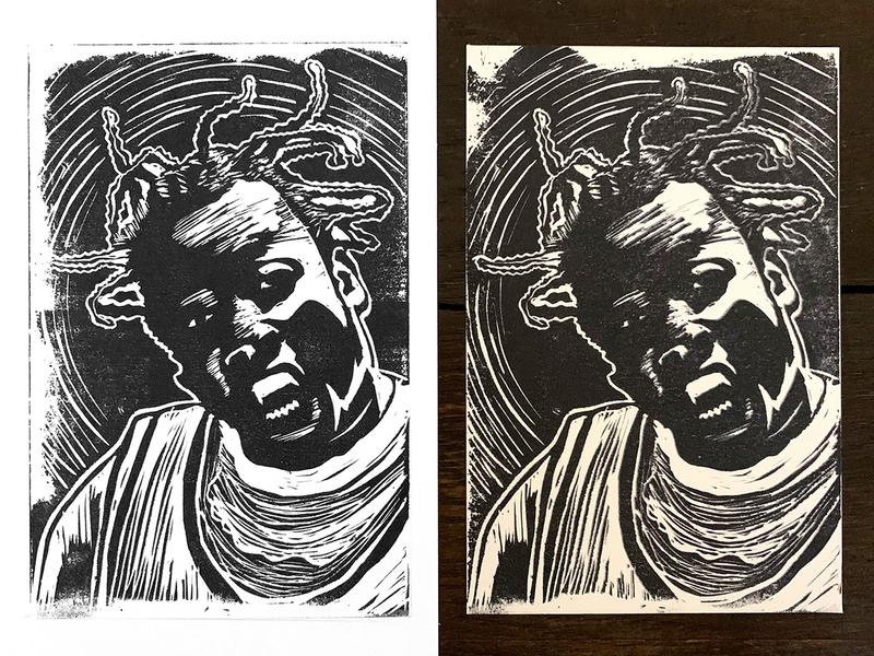 ODB - Linoleum Block Print printmaking print handmade russell jones wutang hiphop hip-hop hip hop block print block printing lino print linoprint linoleum linocut ol dirty bastard odb
