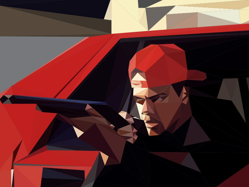 Shooter Low-Poly vector illustrator lowpoly low poly low-poly polygonal triangles 3d polygon