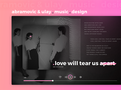 Abramovic & Ulay . Music . Design 80s joy division gradient player music abramovic