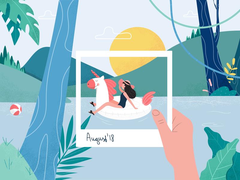 Summer Memories unicorn vacation summer fireart illustration character