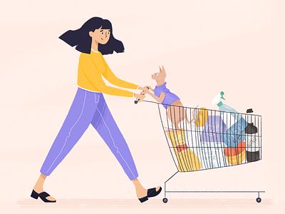 Cat mom! sphynx cat shopping cat vector character illustration girl