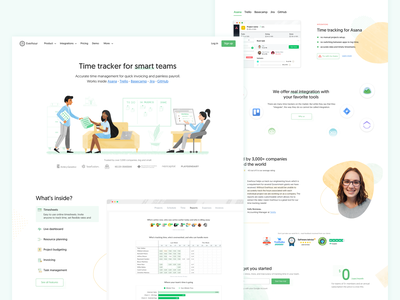 Time tracking for smart teams managment time business work team design landing ui character illustration