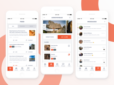 Climbing app messages news feed mobile ui orange explore discover ux ui climbing app climbing