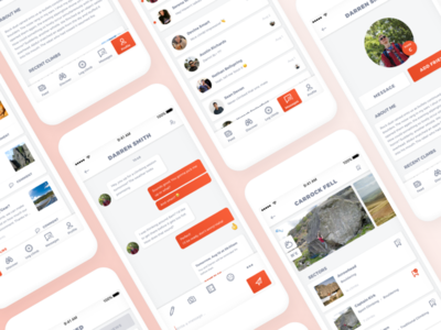 Climbing app with Social Media aspects social media ux ui orange news feed mobile ui messages explore discover climbing app climbing