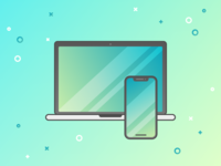 Macbook Pro + iPhone X Illustration
