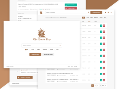The Pirate Bay (redesign) — UI Weekly Challenge — S2 / W07 web design ui challenge the pirate bay web ui typography torrents tpb redesign torrent