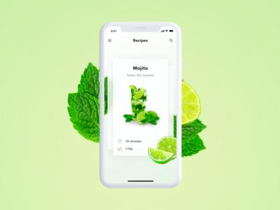 Cocktail app – Mojito app ui mobile ui app summer lime mojito cocktails cocktail ui mobile