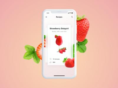 Cocktail app – Strawberry Daiquiri mobile ui app ui ui summer daiquiri mobile strawberry cocktails cocktail app