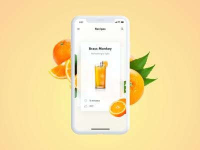 Cocktail app – Brass Monkey brass monkey app ui summer oranges orange ui mobile cocktails cocktail app