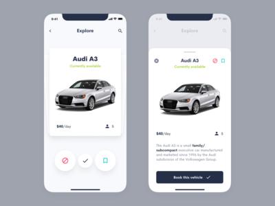 Rent a Car App – Tinder Style Explore rent car rent a car mobile ui clean ui tinder mobile car