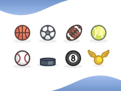 Sports icon set quidditch billiards hockey baseball tennis soccer basketball football balls ball sports sport