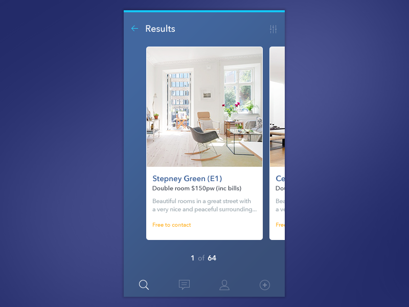 Room share results rooms search list display app ios ui blue cards clean
