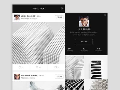 Art Attack art timeline profile follow followers black white comments likes art attack