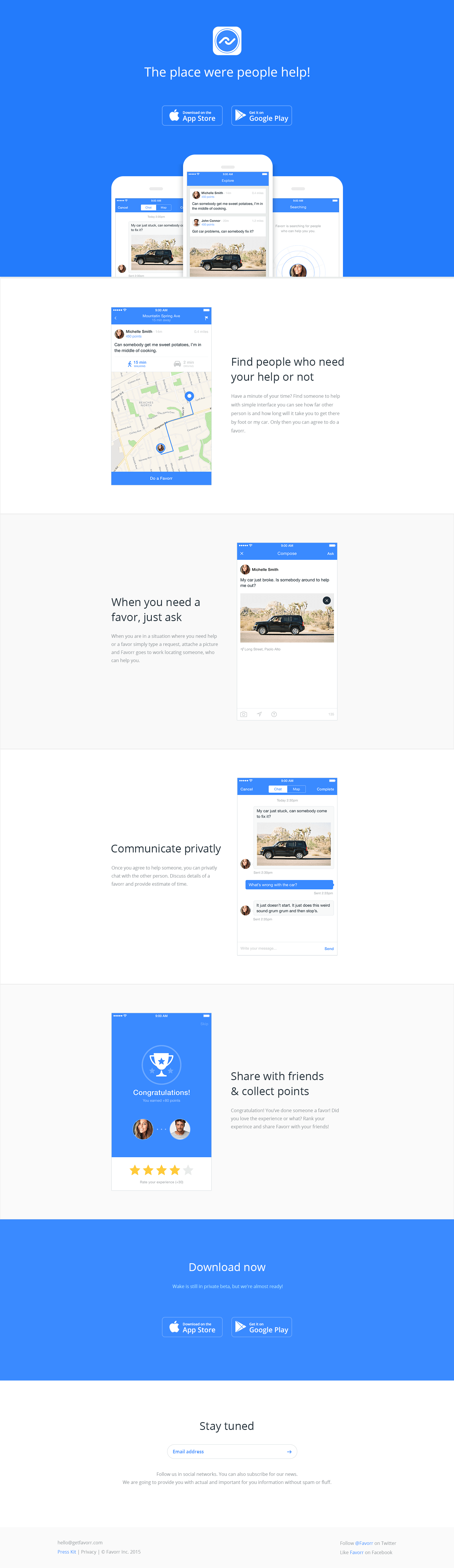 Favorr landing page