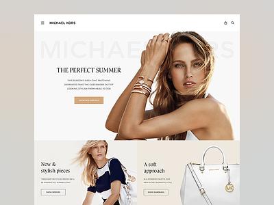 Michael Kors redesign fashion website re-design bags model michael kors mk landing shopping