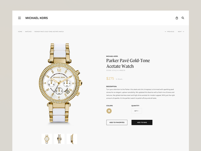Michael Kors redesign subpage subpage product kors michael kros redesign website