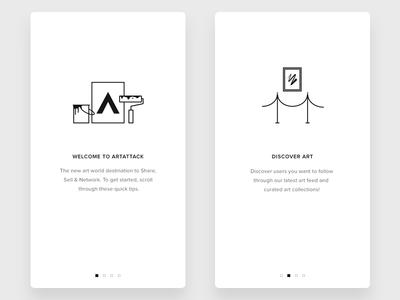 ArtAttack Walkthroguh icons flat ios walkthrough illustrations onboarding art artattack