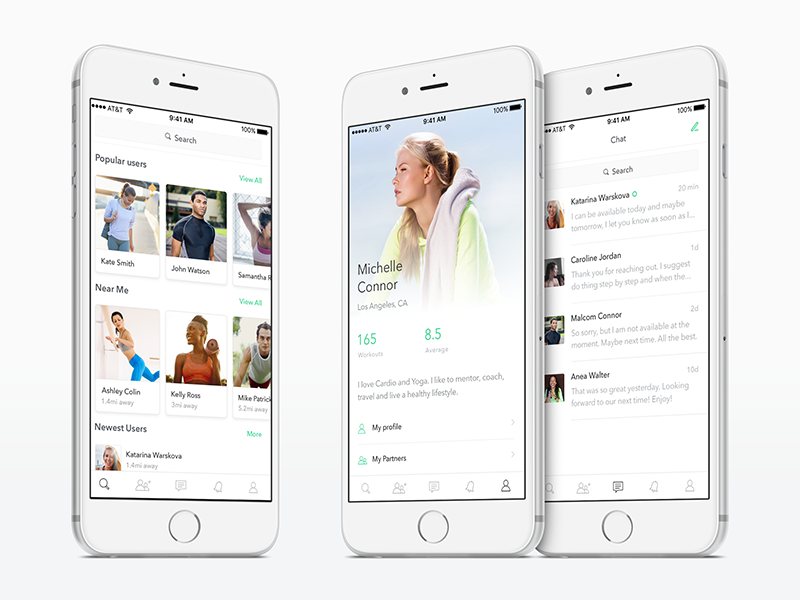 Fitness Redesign green flat discover ios search profile redesign fitess