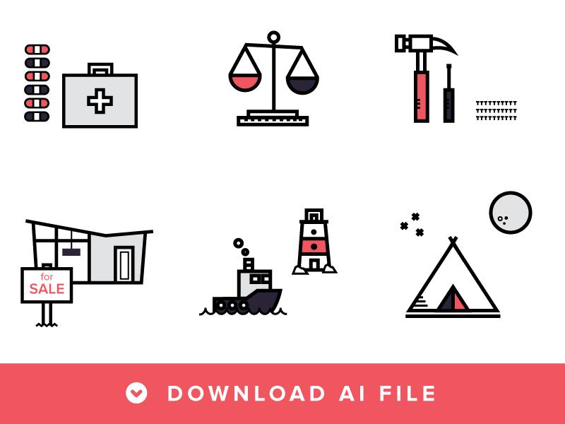 Enjoy these free line icons! icons free vector ai flat portfolio