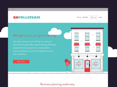 GofullSteam Site Launch vector clouds flat icons illustration ui ux branding
