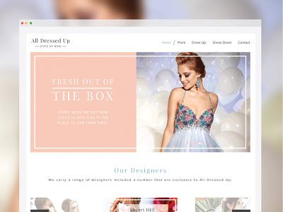 Dress shop web design ux ui images clean minimal icons beauty feminine women soft branding shop