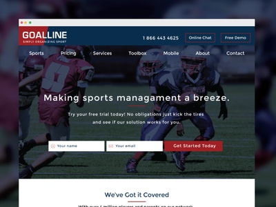 Sports Management design minimal ui flat ux clean layout sports saas mobile responsive callout call to action