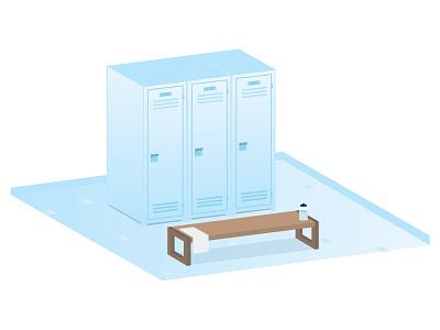 Locker Room Illustration locker sports vector flat svg illustrator locker room bench water bottle