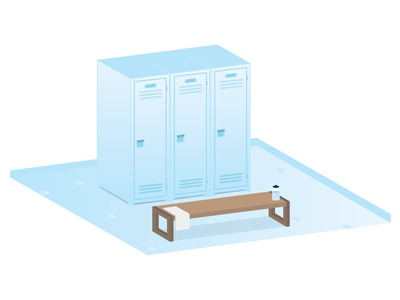 Locker Room Illustration locker sports vector flat svg illustrator locker room bench water bottle