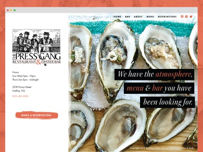 Restaurant Website Design menu bar oysters clean ocean web design culinary food restaurant ux ui
