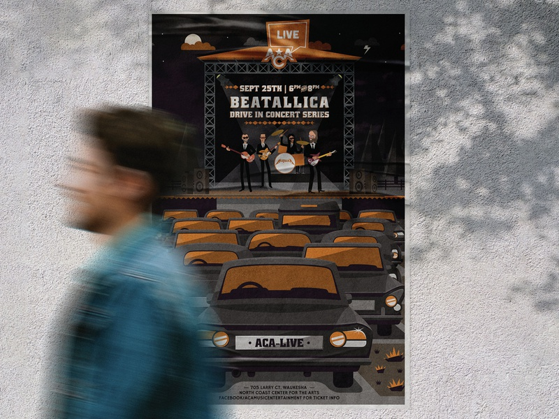 Beatallica Poster illustration textures poster design