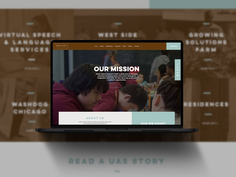 Urban Autism Solutions ui ux foundation autism branding design layout website
