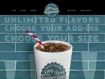 Liv's Drink Emporium branding layout website design