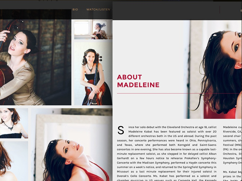 madeleinekabat.com music cellist cello website
