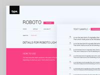 Roboto Type Specimen / UI Challenge