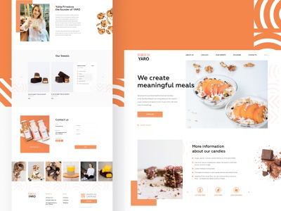 YARO - Landing page cacao oil dates yaro design chocolate healthy healthyfood fit fitness woman landing candy vegan orange ux ui