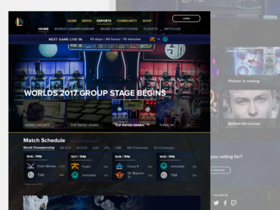 Day 3 League of Legends eSports Landing page redesign