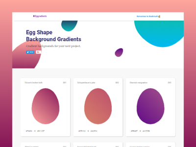 Egg Shape Gradients 🥚 - One Page Website freebie css clean ui webflow web desing website colors cards gradient