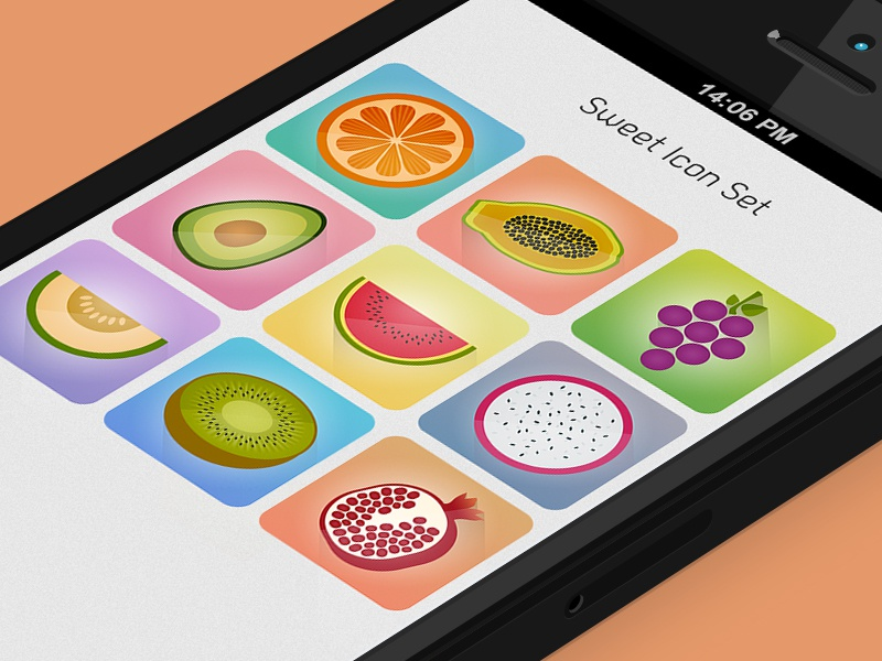 Sweet Icon Set - Freebie icon set freebie fruits sweet juicy flat grapes avocado watermelon dragon fruit melon kiwi