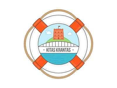 Kitas Krantas Logo river tower bridge vilnius lithuania cafe logo