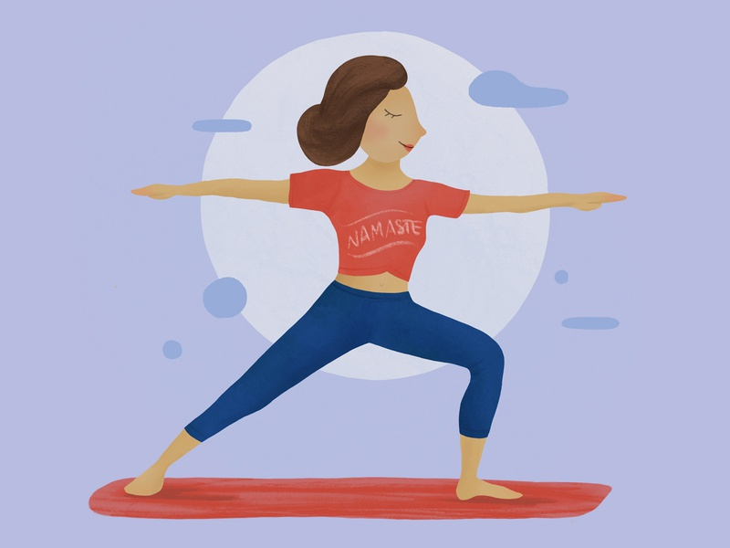 Yogi Girl procreate namaste worrior yoga character illustration