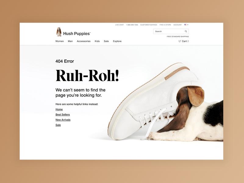 Hush Puppies 404 Error Page 404 error page 404 error type page landing digital web typography shoe marketing ecommerce design