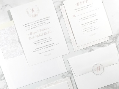 McBride Wedding Suite elegant simple design print paper sticker rsvp blush pink invitation wedding