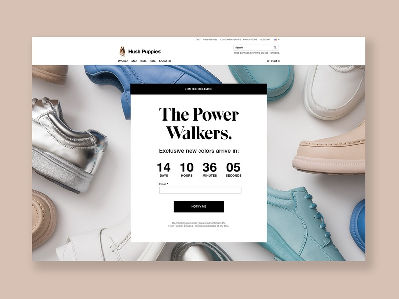 Hush Puppies Power Walkers Teaser Landing Page teaser apparel retail landing page design landing page digital email capture shoe web marketing ecommerce design