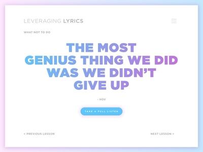 Leveraging Lyrics: Don't Give Up