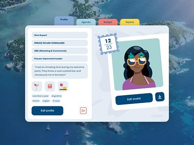 Les Embiez 2021 - Travel book graphic design settings agenda illustration notebook avatar profile menu design website ux animation ui motion web