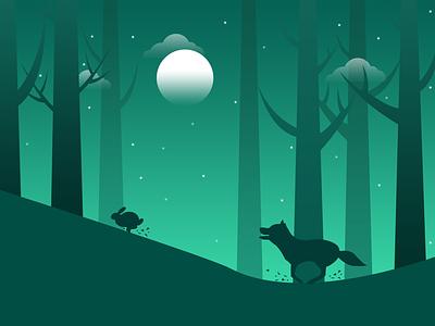 Moonlit night practice to illustrations