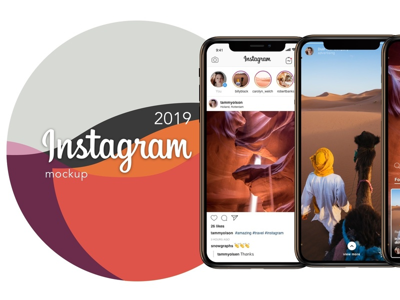 Instagram mockup template 2019 PSD Sketch free download by
